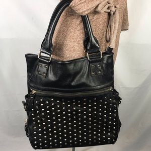 Handbags - FAUX LEATHER TOTE CROSSBODY CONVERTIBLE BAG STUDS